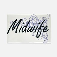Midwife Artistic Job Design with Flowers Magnets