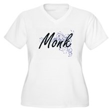 Monk Artistic Job Design with Fl Plus Size T-Shirt