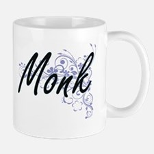 Monk Artistic Job Design with Flowers Mugs