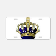 Blue & Gold Royal Crown Aluminum License Plate