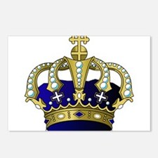 Blue & Gold Royal Crown Postcards (Package of 8)