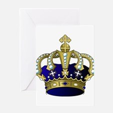 Blue & Gold Royal Crown Greeting Cards