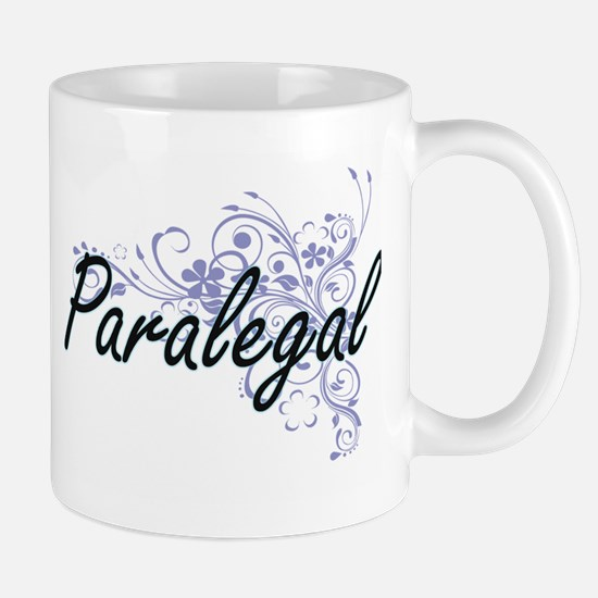 Paralegal Artistic Job Design with Flowers Mugs