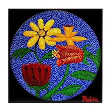 Flowers on Round Canvas (Black) Tile Coaster