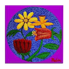 Flowers on Round Canvas (Purple) Tile Coaster