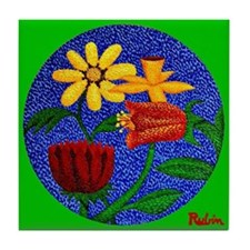 Flowers on Round Canvas (Green) Tile Coaster