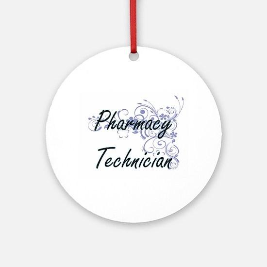 Pharmacy Technician Artistic Job De Round Ornament