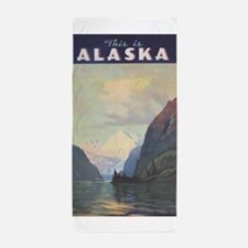 Alaska Vintage Travel Poster Beach Towel