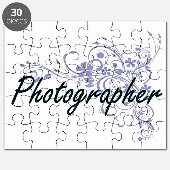 Photographer Artistic Job Design with Flowe Puzzle