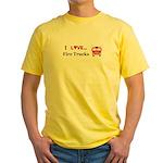 I Love Fire Trucks Yellow T-Shirt
