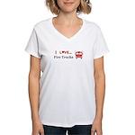 I Love Fire Trucks Women's V-Neck T-Shirt