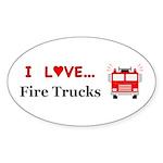 I Love Fire Trucks Sticker (Oval 10 pk)