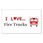 I Love Fire Trucks Sticker (Rectangle 10 pk)