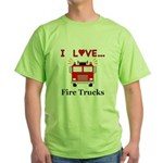 I Love Fire Trucks Green T-Shirt