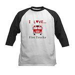 I Love Fire Trucks Kids Baseball Jersey