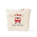 I Love Fire Trucks Tote Bag