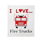I Love Fire Trucks Throw Blanket