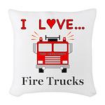I Love Fire Trucks Woven Throw Pillow