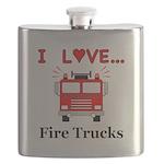 I Love Fire Trucks Flask