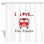 I Love Fire Trucks Shower Curtain