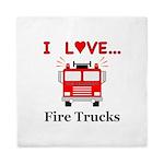 I Love Fire Trucks Queen Duvet