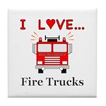 I Love Fire Trucks Tile Coaster