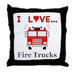 I Love Fire Trucks Throw Pillow