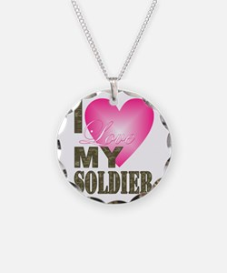 I love my soldier Necklace Circle Charm