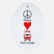 Peace Love Fire Trucks Oval Ornament
