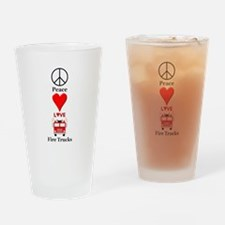 Peace Love Fire Trucks Drinking Glass