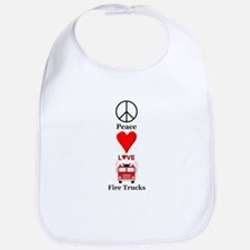 Peace Love Fire Trucks Bib