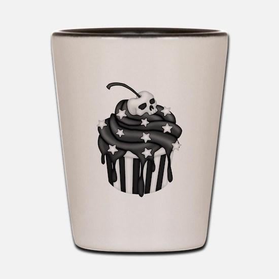 Cadaver Cupcake w/ Stripes, Skull & Stars Shot Gla