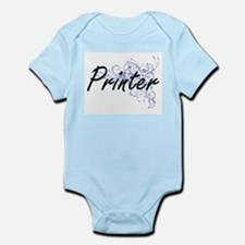 Printer Artistic Job Design with Flowers Body Suit