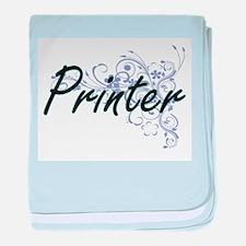 Printer Artistic Job Design with Flow baby blanket