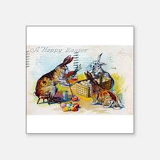 "Funny Easter rabbit Square Sticker 3"" x 3"""