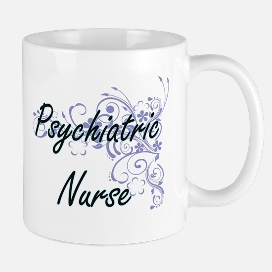Psychiatric Nurse Artistic Job Design with Fl Mugs