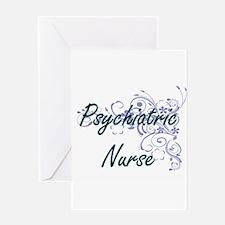 Psychiatric Nurse Artistic Job Desi Greeting Cards