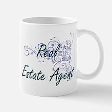 Real Estate Agent Artistic Job Design with Fl Mugs