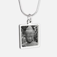 BUDDHA IN GREY Silver Square Necklace