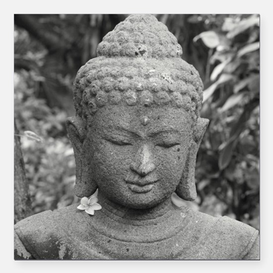 "BUDDHA IN GREY Square Car Magnet 3"" x 3"""