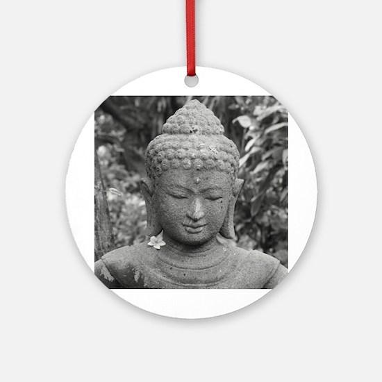 BUDDHA IN GREY Round Ornament