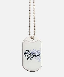 Rigger Artistic Job Design with Flowers Dog Tags