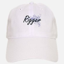 Rigger Artistic Job Design with Flowers Baseball Baseball Cap