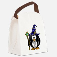 Funny Purple penguin Canvas Lunch Bag