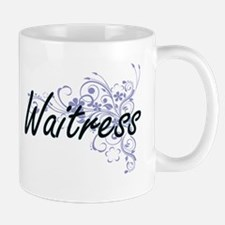 Waitress Artistic Job Design with Flowers Mugs