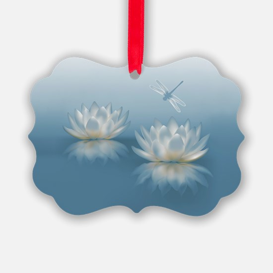 Blue Lotus and Dragonfly Picture Ornament