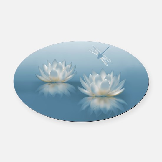 Blue Lotus and Dragonfly Oval Car Magnet