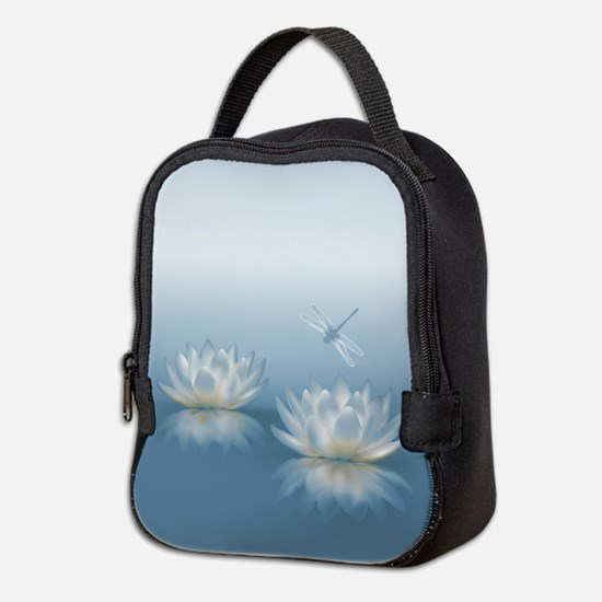 Blue Lotus and Dragonfly Neoprene Lunch Bag
