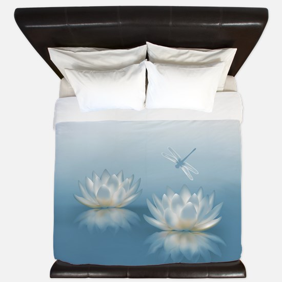 Blue Lotus and Dragonfly King Duvet