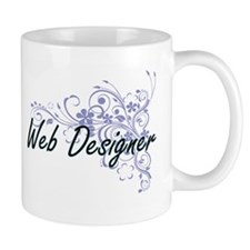 Web Designer Artistic Job Design with Flowers Mugs